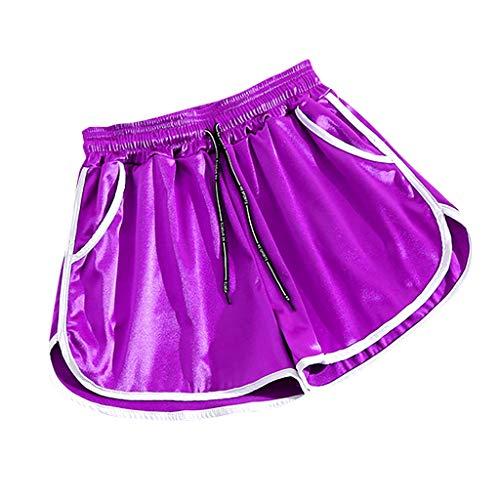 Great Price! Women Scrunch Workout Shorts - Running Satin Yoga Shorts Plus Size Shorts - Elastic Wai...
