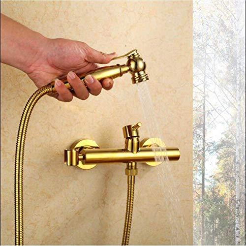 Zixin Badezimmer Gesamt Messing Gold Finished Wand befestigter Bidet-Hahn-Toilette Bidet Dusche Set Tragbarer Bidet-Spray-1.5M Schlauch