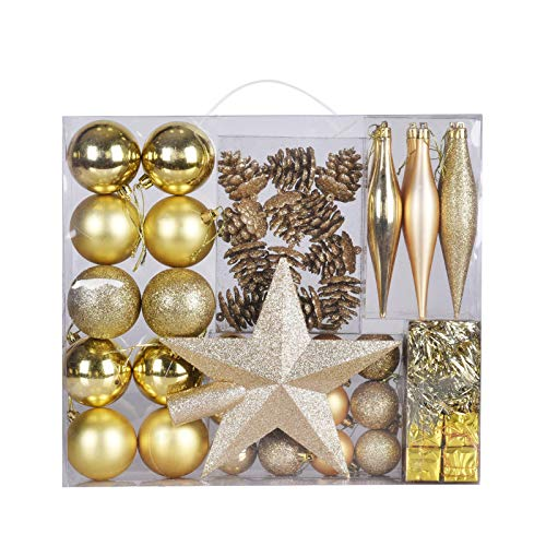 50 Pack Christmas Tree Ornaments Set, Shatterproof Xmas Balls for Tree Decoration with Reusable Hand-held Gift Package (Gold)