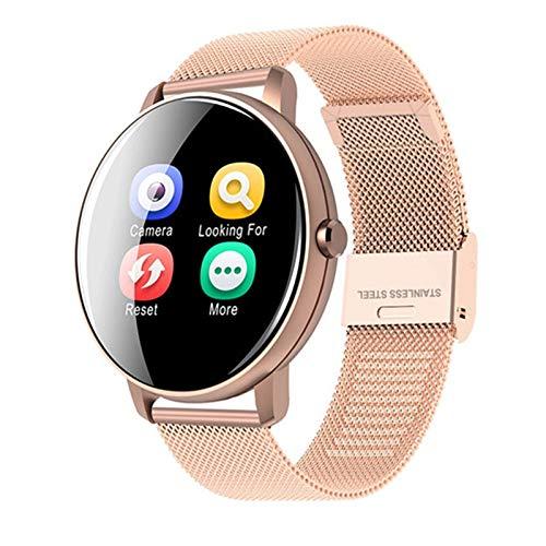 Reloj inteligente con Bluetooth P8 y tacto completo para mujer, monitor de ritmo cardíaco, monitor de actividad física, reloj inteligente para Android IOS (color: acero P8, oro)