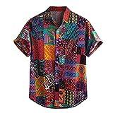 JJZSL Hombre Colorido Manga Corta Botones Sueltos Camisa Casual Hawaiano Blusa De Playa Más Tamaño Impreso Camisas (Color : A, Size : M code)