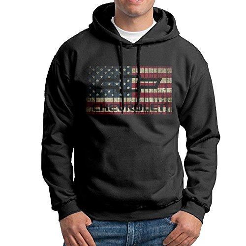 IcyHot Hombre Sudaderas con Capucha Chevy Chevrolet con la Bandera Americana Negro