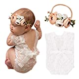 Newborn Baby Cute Lace Rompers Photography Props with Flower Headband Vest Floral Classic Outfits for Girl Princess Twins Birthday Party (2 PCS)