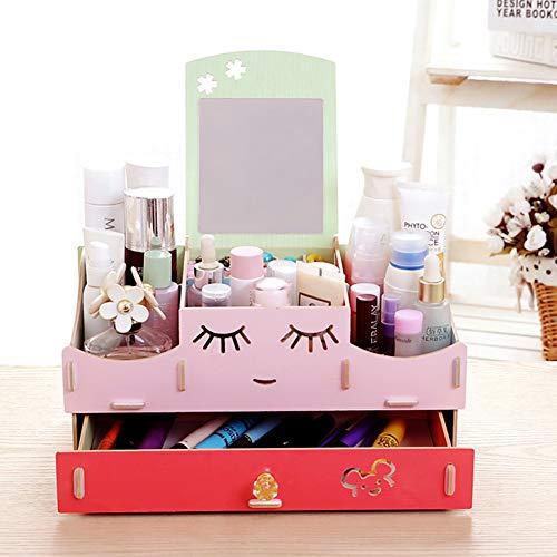 Cosmetische opbergbox spiegel lade make-up organisator voor commode slaapkamer of badkamer make-up houder Kleur: