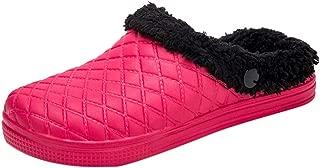 Comfy House Slippers,New Men's Women's Slippers in Door Fleece Memory Foam Water Proof Leather Upper Warm Cotton Shoes