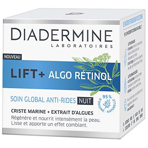 Diadermine - Lift+ Algo Retinol - Crème Visage Soin de NuitGobal Anti-Rides - Criste Marine et Extrait d'Algues - Hydrate et Illumine le teint - 95% d'ingrédients d'origine naturelle - Pot de 50ml