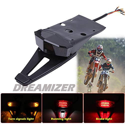 DREAMIZER Motorcycle Fender LED Brake Tail Light with License Plate Lamp Taillight Turn Signal Indicator Lights for CRF DRZ Enduro Cross Dirt Bike Off-Road - Smoke Black