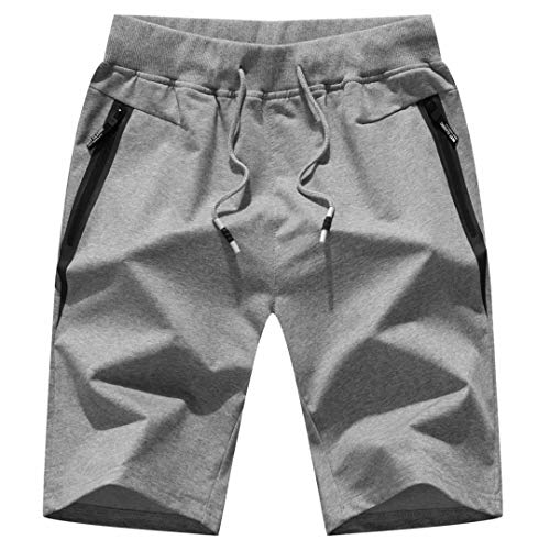 "STICKON Mens 7"" Inseam Workout Shorts Elastic Waist Drawstring Summer Casual Short Pants Zipper Pockets (Light Gray, Large)"