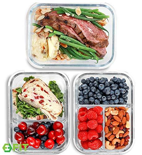 1 & 2 & 3 Fächer Glas Meal Prep Boxen Glas [3er Pack, 1000 ML] - Glas Frischhaltedosen, Meal Prep Container, Luftdichte Glasbehälter mit Deckel, Bento Box, Brotdose, Portionskontrolle, Lunchbox