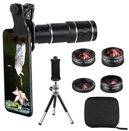 【2020進化版】 5in1 スマホレンズ 携帯カメラ 20X望遠レンズ 0.6X広角レンズ, 18Xマクロレンズ 205°魚眼レンズ CPL偏光フィルターレンズ クリップ式 スマホカメラレンズ キット スマートフォン用, iPhone 11/XS/SE, Xperia 5 XZ2,Aquos R2 sense3,Galaxy,高画質 携帯レンズ ワイヤレスリモコン+ミニ三脚+収納ケース付き