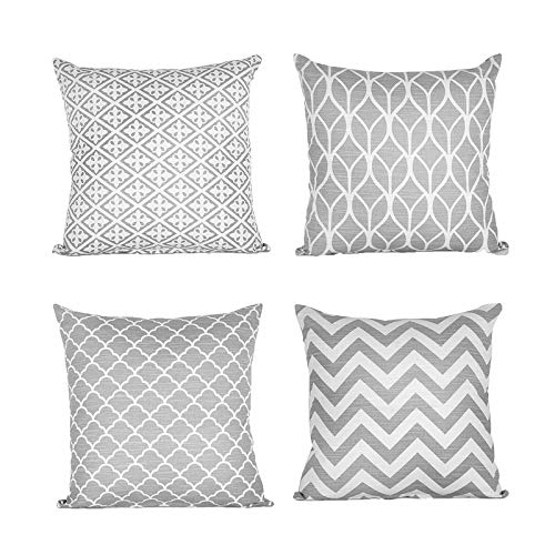 Yi CG Gray Cushion Cover Cotton Linen Decorative Square Stylish Throw Pillow Cases Home Decor for Sofa Bedroom,With Invisible Zipper 45 x 45 cm 18 x 18 Inch - Set of 4