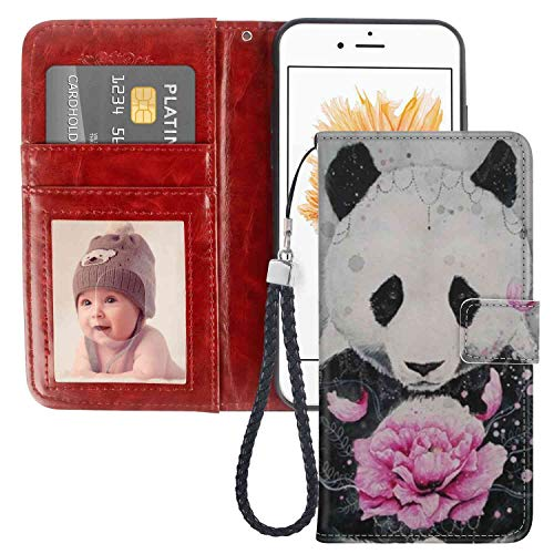 Apple iPhone 5 Panda Wallet Case | iPhone 5S Case | iPhone SE Case (5.5') with Card Holder