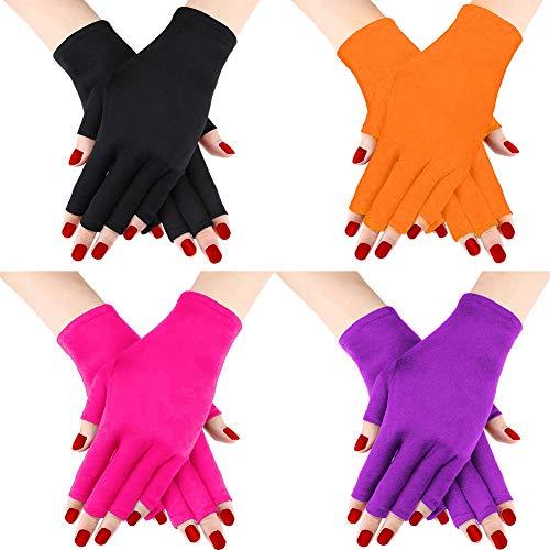 Hellomagic Lot de 4 paires de gants anti-UV en gel de manucure, gants sans doigts pour protéger les mains de la lumière UV ou de la lampe