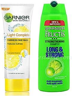 Garnier Skin Naturals Light Complete Facewash, 100g and Garnier Fructis Long & Strong Strengthening Shampoo, 340ml