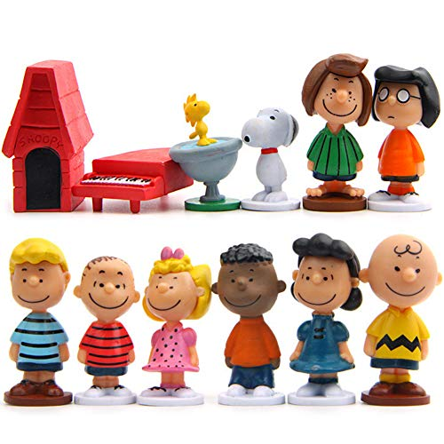 REYOKG Snoopy Figures Set 12 Stück Erdnuss-Comics Geburtstags Party liefert Cupcake Figuren Party Kuchen Dekoration Cake Topper Lieferungen Snoopy Shadow Tails Charaktere Figur Spielzeug