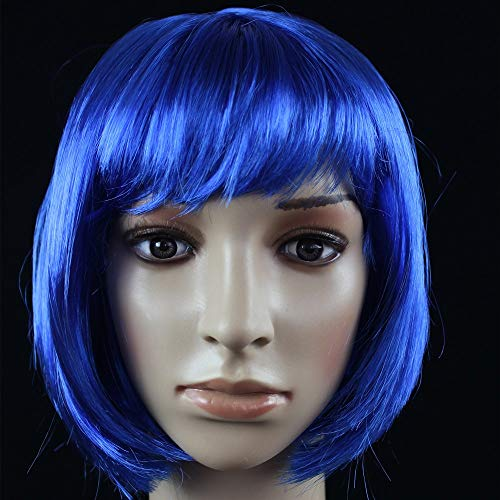 JKL African Female wig Short Hair wig Black Hair wig Small Volume Explosion Headgear European and American Hot wig Set (Color : Bleu)