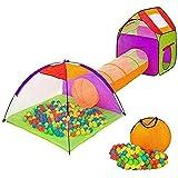 BAKAJI Tenda Igloo per Bambini con 200 Palline + Tunnel + Casetta Tenda da Gioco con Palline per Bambino Bambina Pieghevole Sistema Pop-UP Salvaspazio