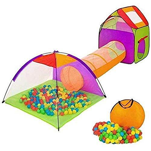 scivolo per bambini BAKAJI Tenda Igloo per Bambini con 200 Palline + Tunnel + Casetta Tenda da Gioco con Palline per Bambino Bambina Pieghevole Sistema Pop-UP Salvaspazio