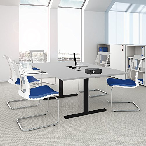 Easy Konferenztisch 200x120 cm Lichtgrau mit ELEKTRIFIZIERUNG Besprechungstisch Tisch, Gestellfarbe:Schwarz