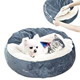 Dog Bed - Cozy Donut Cuddler Pet Beds for Small Dogs Cat,Calming Anti-Anxiety Premium Plush Nest Snuggler Improved Sleep,Washable,Non-Slip Bottom with Flannel Blanket (24' x 24'x 7', Grey)