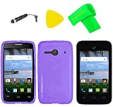 TPU Flexible Skin Cover Case Cell Phone Accessory + Screen Protector + Extreme Band + Stylus Pen + Pry Tool for Alcatel Onetouch A464BG (TPU Purple)