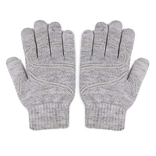 Moshi Digits Winter Gloves Touchscreen, Slip-Free Grip Warm Knit Gloves 3 Size for Women Men, Size M (17-19cm/6.7'-7.5'), Light Gray