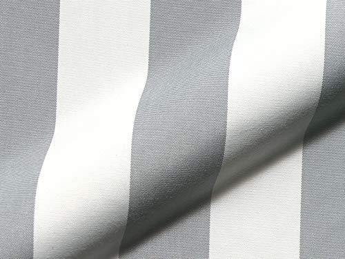 Möbelstoff Outdoor KRETA 711 Streifenmuster weiß-grau als robuster Bezugsstoff, Polsterstoff gestreift zum Nähen & Beziehen für Außen & Innen mit Fleckschutz