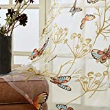 Top Finel Butterfly Voile Sheer Curtains 84 Inches Long for Bedroom Living Room Nursery Grommet Window Curtains, 2 Panels