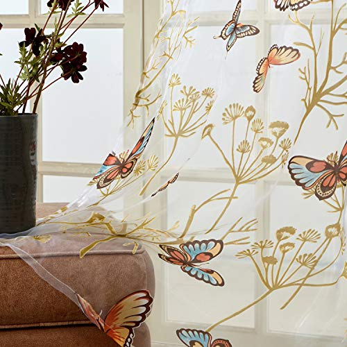 Top Finel Butterfly Voile Sheer Curtains 63 Inch Length for Bedroom Living Room Grommet Short Window Curtains, 2 Panels