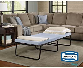 Simmons Beautysleep Foldaway Single Guest Bed Cot with Memory Foam Mattress (Single)