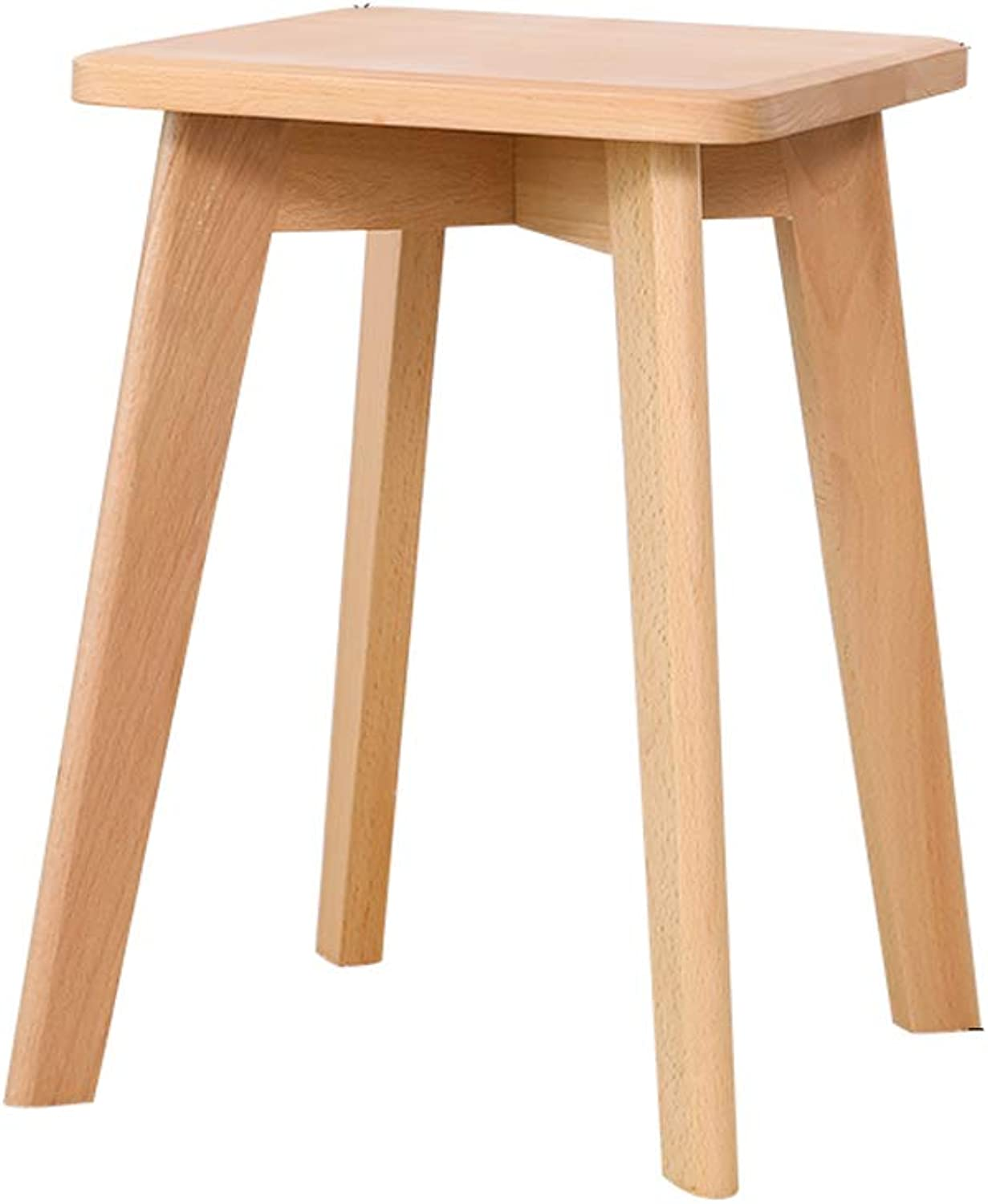 SYFO Household Solid Wood Stool, Simple Square Stool, Bedroom Dressing Stool, Stylish Dining Stool Stool (color   Yellow)