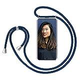 ZhinkArts Handykette kompatibel mit Samsung Galaxy S20 Ultra - Smartphone Necklace Hülle mit Band - Handyhülle Hülle mit Kette zum umhängen in Navy - Blau