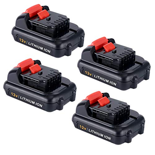 4-Pack 3.0Ah DCB120 Battery for DeWalt 12V Battery Max Lithium Ion DCB120 DCB123 DCB127 Compatible with Multiple Chargers Rechargeable Battery