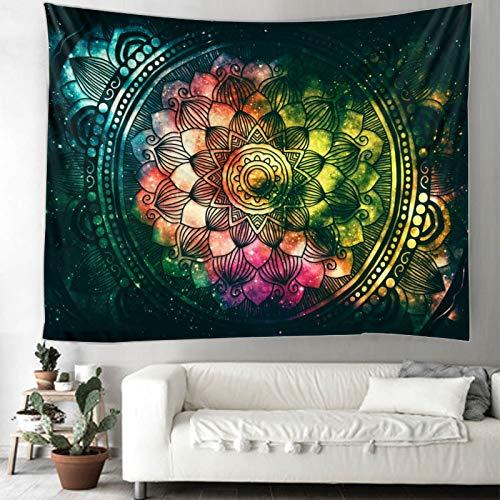 QAWD Tapiz de Mandala Colorido Tapiz Indio de Mandala Hippie Tapiz Colgante de Pared Estilo Bohemio Tapiz de brujería psicodélica A6 130x150cm