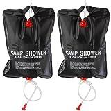 TRIXES 2 x 20 LTR Camping Shower - Portable Solar Heated 5 Gallon/ 20 Litre Travel Shower - Black
