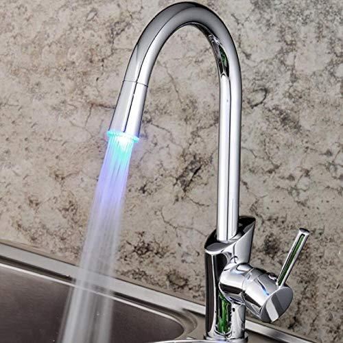 Lámpara de grifo LED para fregadero de cobre con cambio de 3 colores, grifo giratorio para plato de cocina abatible, mezclador de grifo de cocina caliente y frío