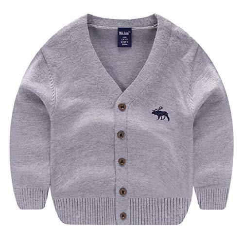 HAOKTY - Chaqueta de punto para niños y niñas, de invierno, de manga larga, con cuello abotonado gris 120 cm