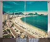 ABAKUHAUS Vintage Beach Cortinas, Copacabana Beach Art, Sala de Estar Dormitorio Cortinas Ventana Set de Dos Paños, 280 x 225 cm, Multicolor