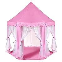 ODOLAND 子供テント プリンセス城型 幻部屋で女の子が大好き お嬢様の華麗舞台 おやごっこゲーム、誕生日、クリスマスプレゼント 3-8歳 安装簡単 収納バック付き ピンク