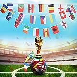 NMSLCNM Europäische Fußballmeisterschaft Euro 2021 Bunte fahnenkette, 24 Teilnehmende Teams Nationalagge für Garten-, Bar-, Restaurant- und Partydekoration,EM Fußball-Fan-Flaggen 14 x 21 cm - 7,8 m