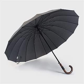 YWSCXMY-AU Large Umbrella Wooden Windproof 16 Bone Business Japanese Long Handle Umbrella,Wind and Rain Shade Male and Female Large Umbrella (Color : Gray)