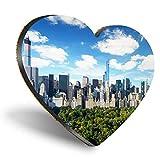 Posavasos con forma de corazón de MDF, de Nueva York, Estados Unidos, con calidad brillante, protección de mesa para cualquier tipo de mesa #12629