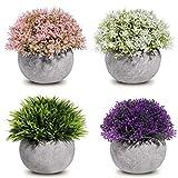 Homemaxs Plantas Artificiales, 4 Unidades, Surtidas, con Flores Verdes realistas y macetas Grises Vintage para decoración de casa, baño