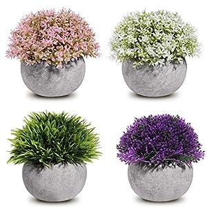 Silk Flower Arrangements Homemaxs Fake Plants Mini Artificial Plants Potted 4 Pack Topiary Shrubs Plastic Plants for Home Decor