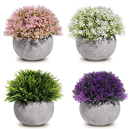 Homemaxs Mini Artifical Plants, 4 Pack Assorted Fake Plants with Lifelike Green Grass Flower and Vintage Gray Pots for House Decorations, Bathroom