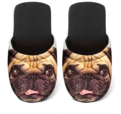 Betz Damen Jersey Hausschuhe Pantoffel Pantoletten Hund MOPS Größe L