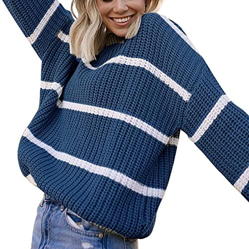 kort gebreid T-shirt voor dames, lange mouwen, slim fit, geribbelde trui met knoopsluiting, nauwsluitend, geribbelde trui - blauw - XL