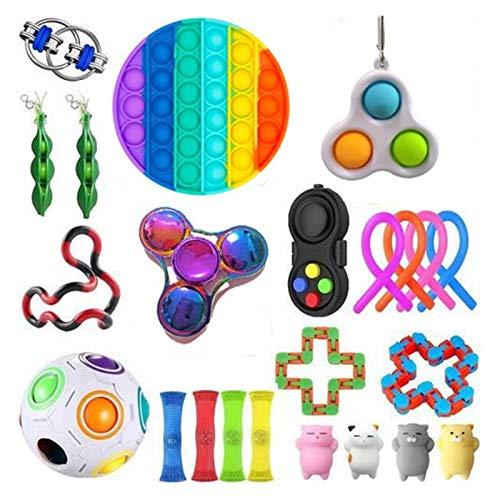 Push Pop Bubble Sensory Fidget Toy, Juego de juguetes sensoriales, Juguetes de Fidget Juego de juguetes Anti estrés STRINGY STRINGY MESH MARBLE RELIPE REGALO PARA ADULTOS MUCHACHA NIÑOS NIÑOS NIÑOS SE