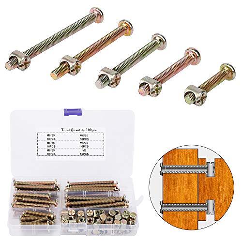 100 Stück M6 Zylindermuttern Schrauben M6 x 35/45/55/65/75 mm Muttern, Schrauben mit Zylindermuttern Sortiment Kit, für Möbel Kinderbetten Krippe und Stühle