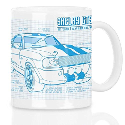 style3 GT 500 Blaupause Motivtasse mustang